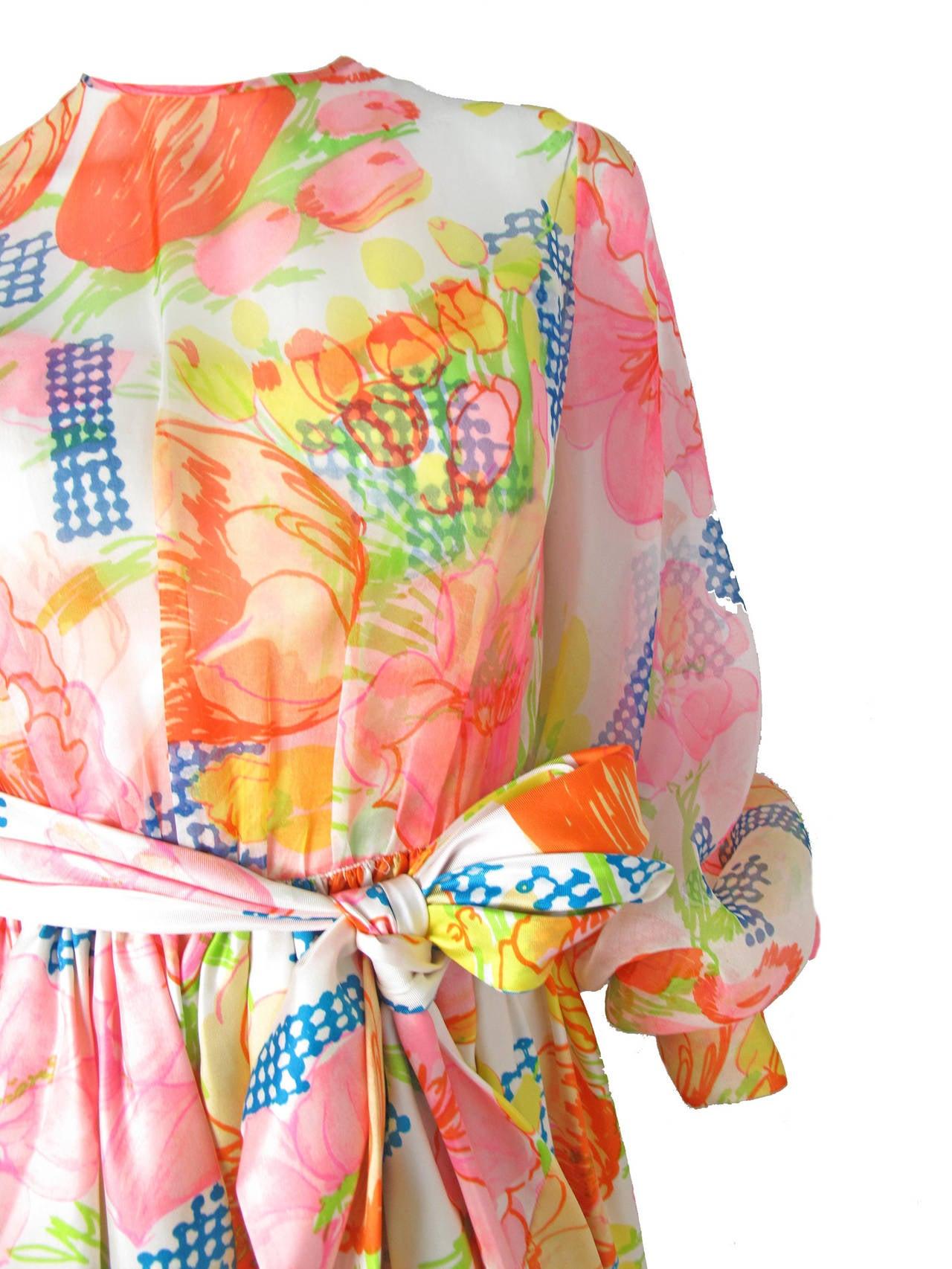 1960s Kiki Hart Floral Dress 4