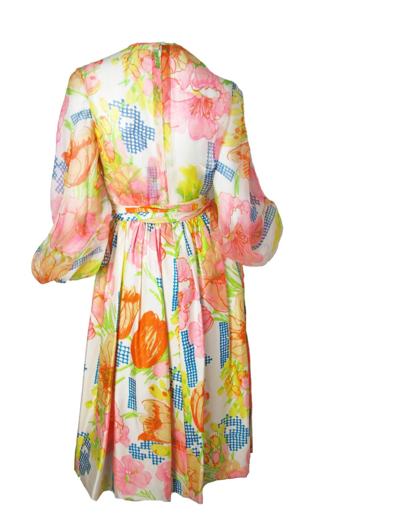 1960s Kiki Hart Floral Dress 3