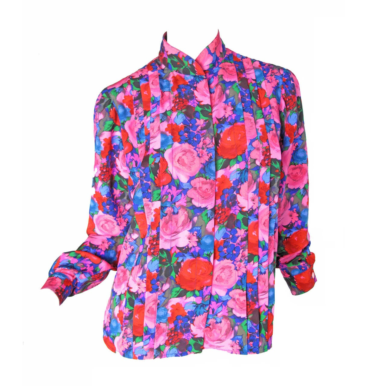 Ungaro Silk Floral Blouse with Pleating For Sale