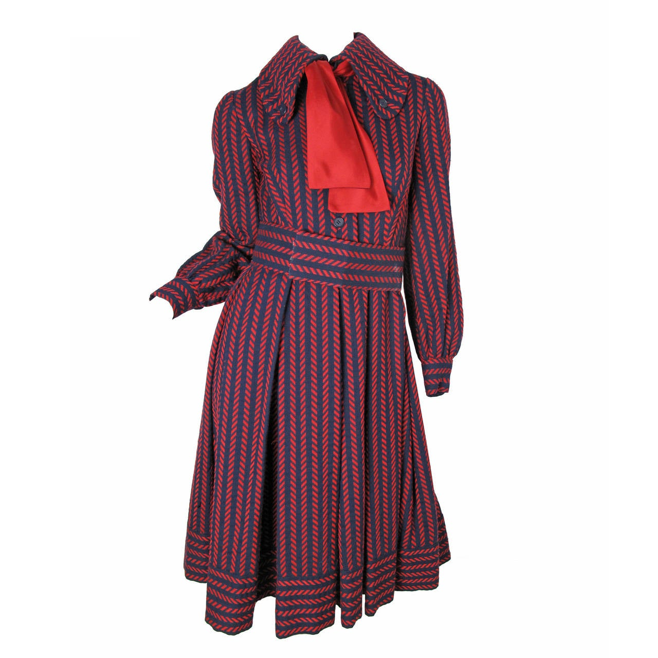 1970s Geoffrey Beene Navy and Red Coat Dress -sale For Sale