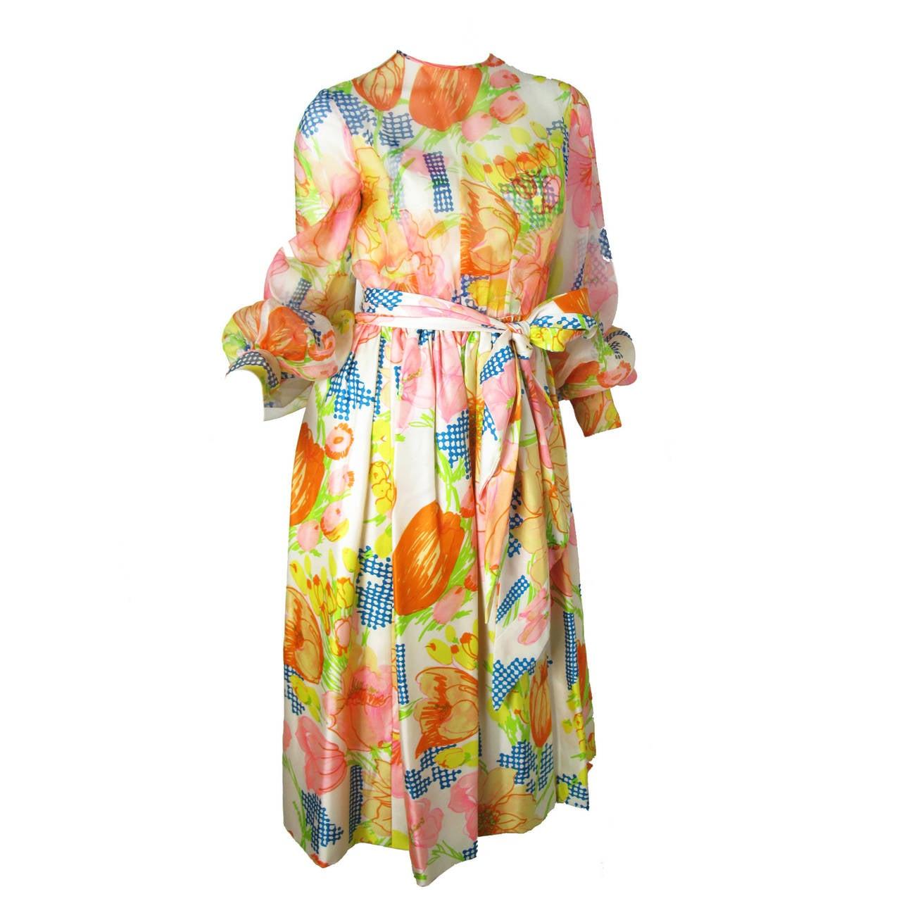 1960s Kiki Hart Floral Dress 1
