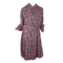 1980s Adele Simpson Silk Dress