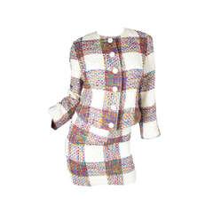 1980s Valentino wool plaid suit