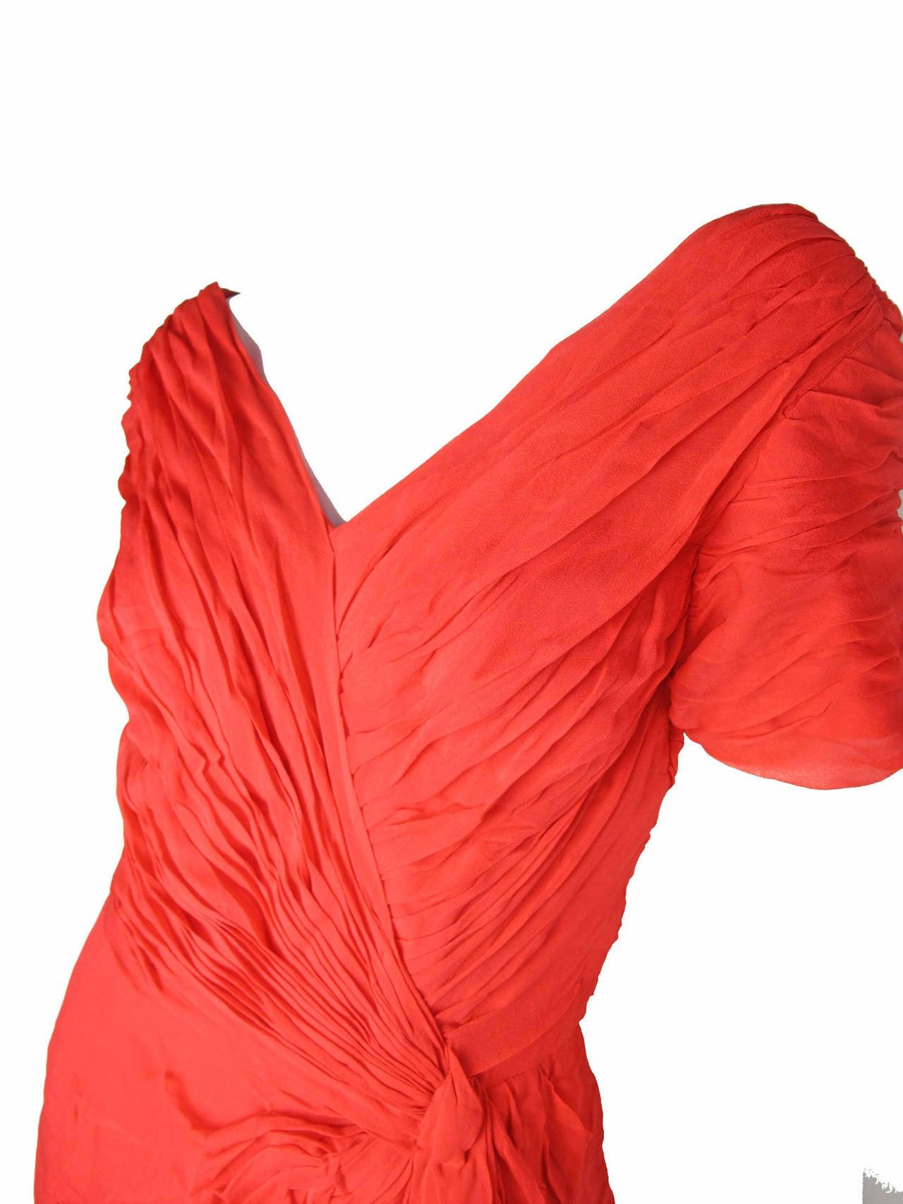 1950s Ceil Chapman Red Silk Chiffon Cocktail Dress - sale 4