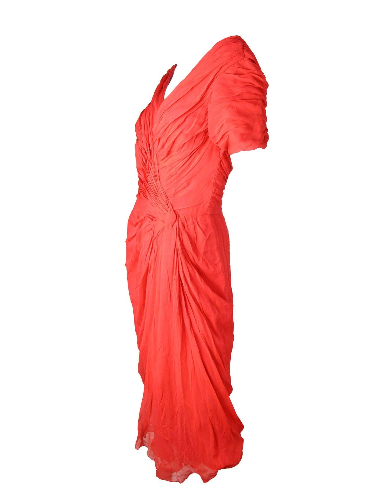 1950s Ceil Chapman Red Silk Chiffon Cocktail Dress - sale 3