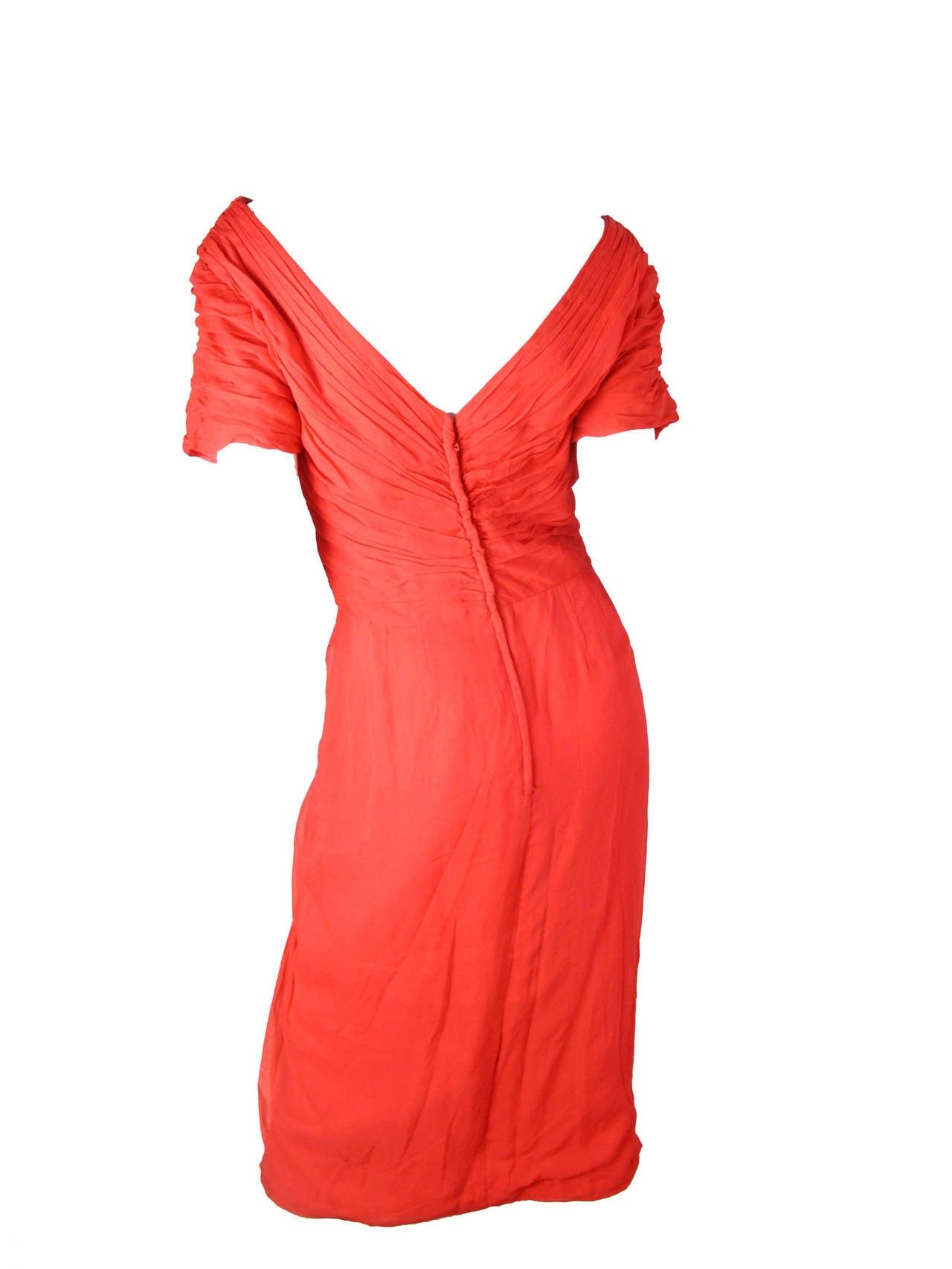 1950s Ceil Chapman Red Silk Chiffon Cocktail Dress - sale 2