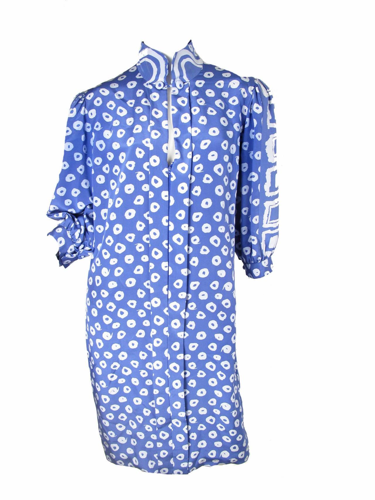Pauline Trigere Blue Silk Dress -sale 5