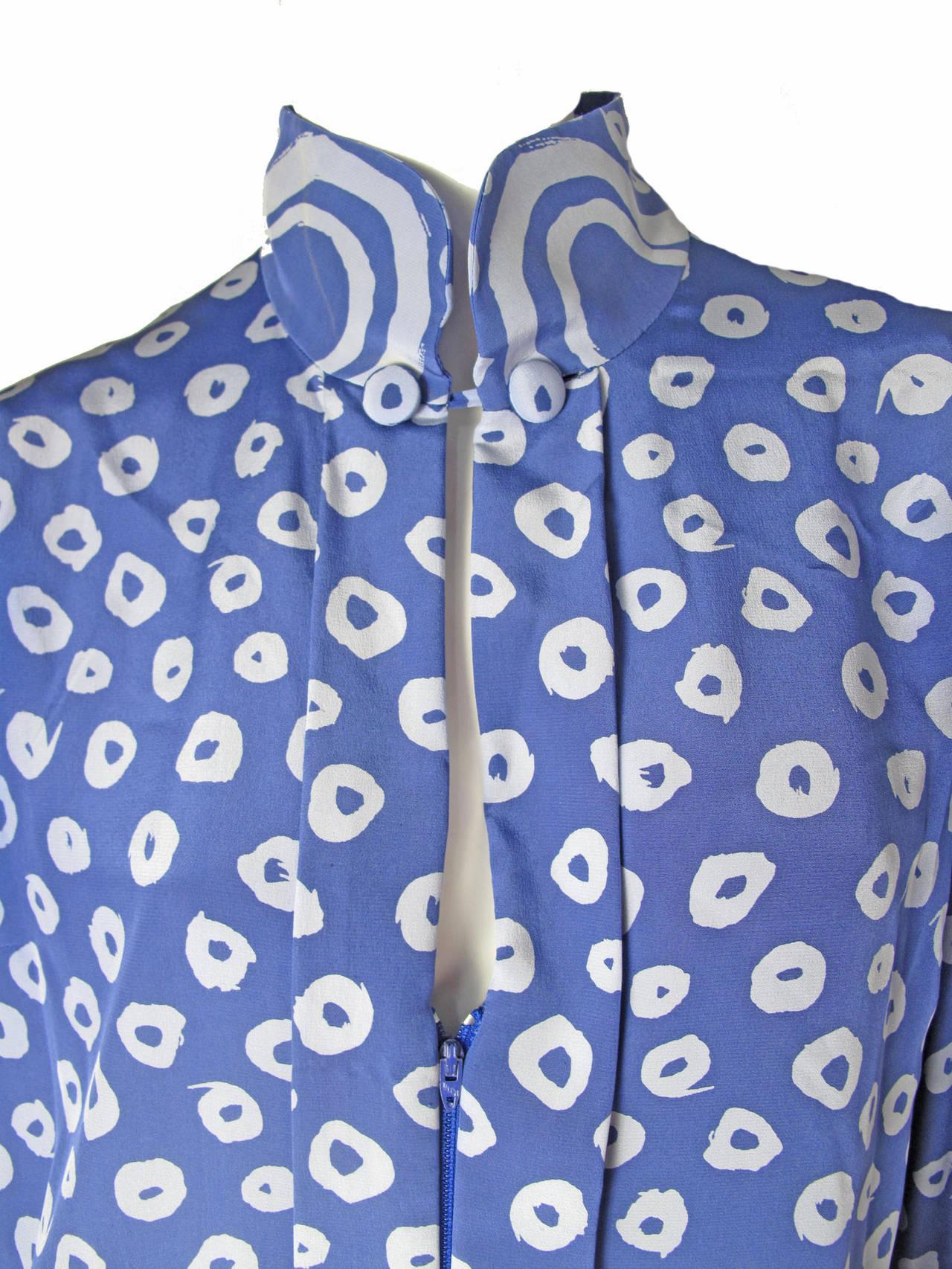 Pauline Trigere Blue Silk Dress -sale 4