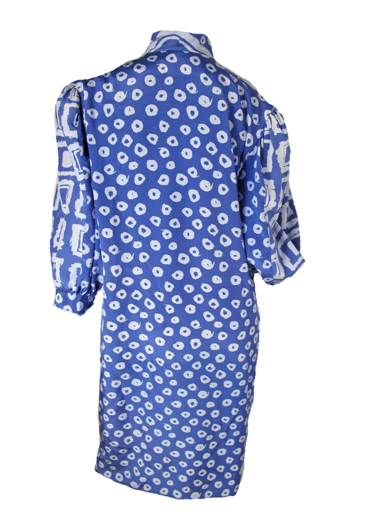 Pauline Trigere Blue Silk Dress -sale 2