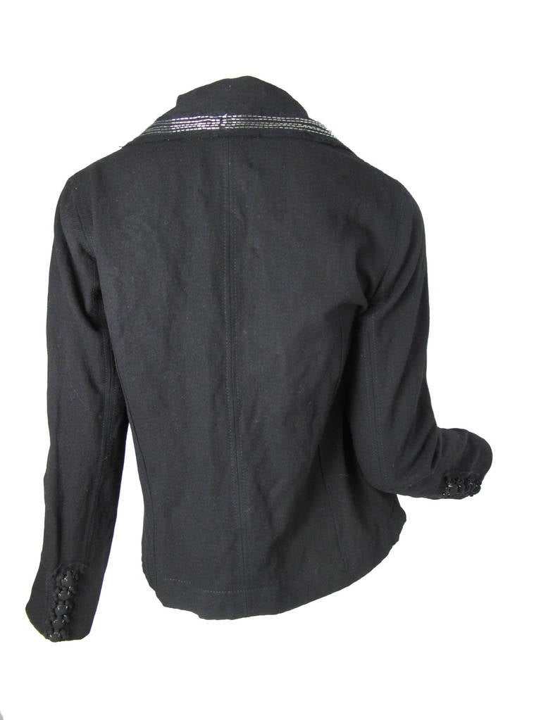 Lanvin Felt Sailor Jacket with Beading, 2005  In Excellent Condition For Sale In Austin, TX