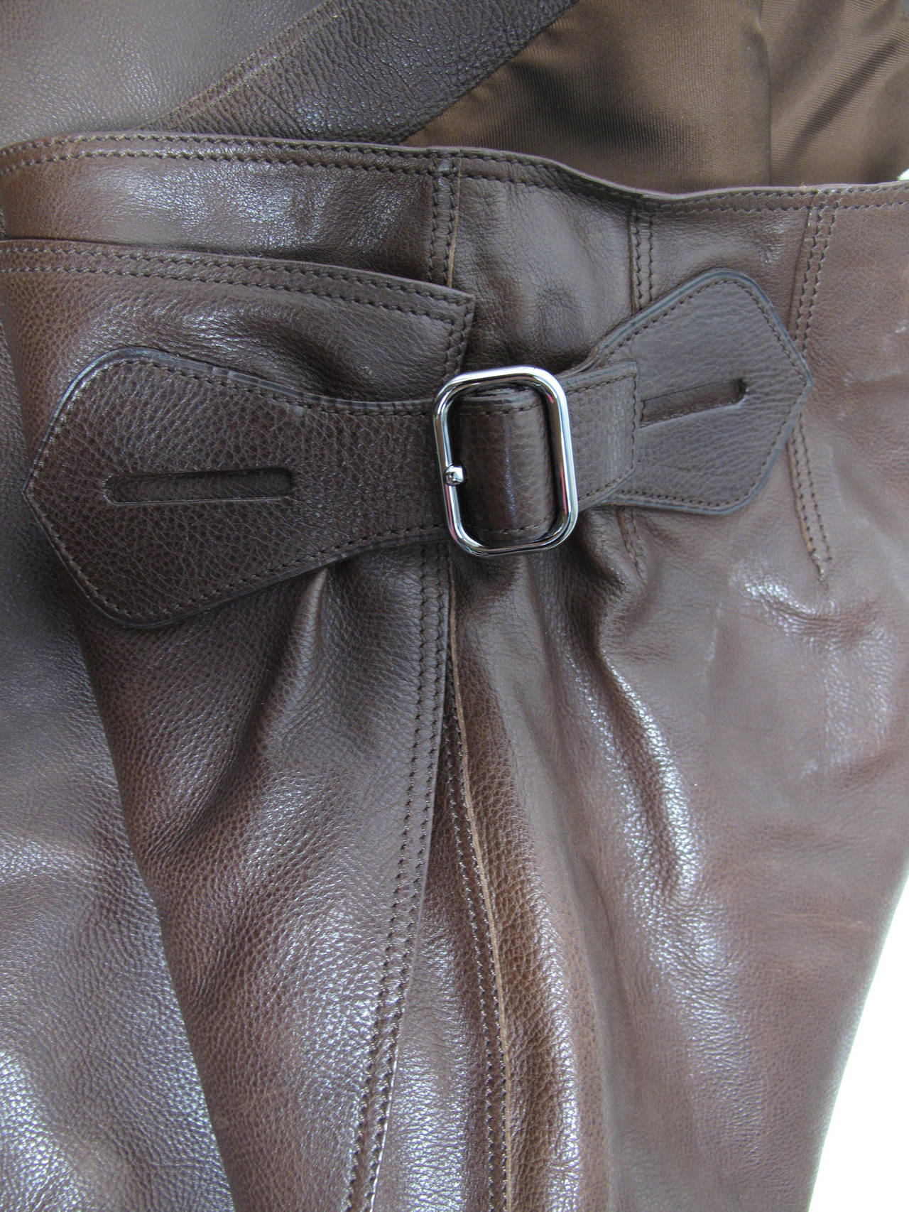 Hermes Rich Dark Brown Leather Wrap Skirt with Buckle 4