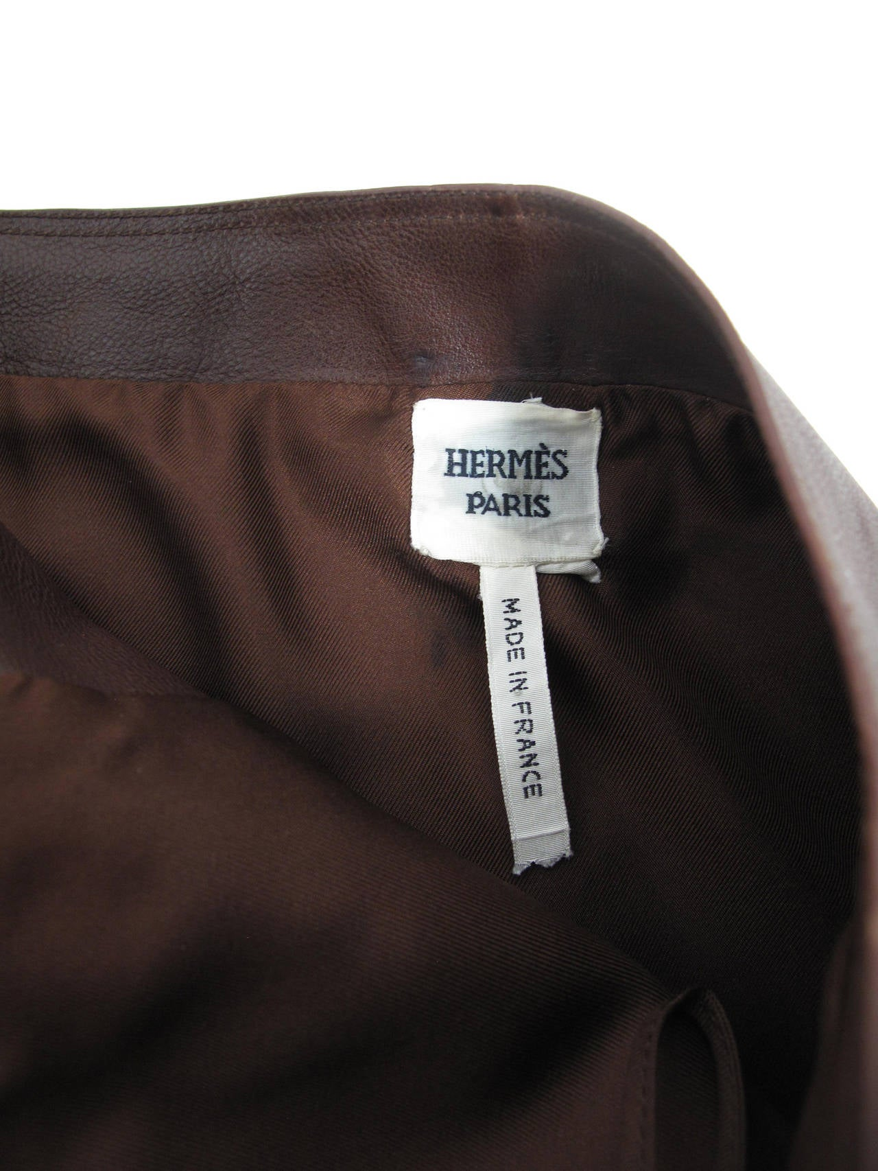 Hermes Rich Dark Brown Leather Wrap Skirt with Buckle 7