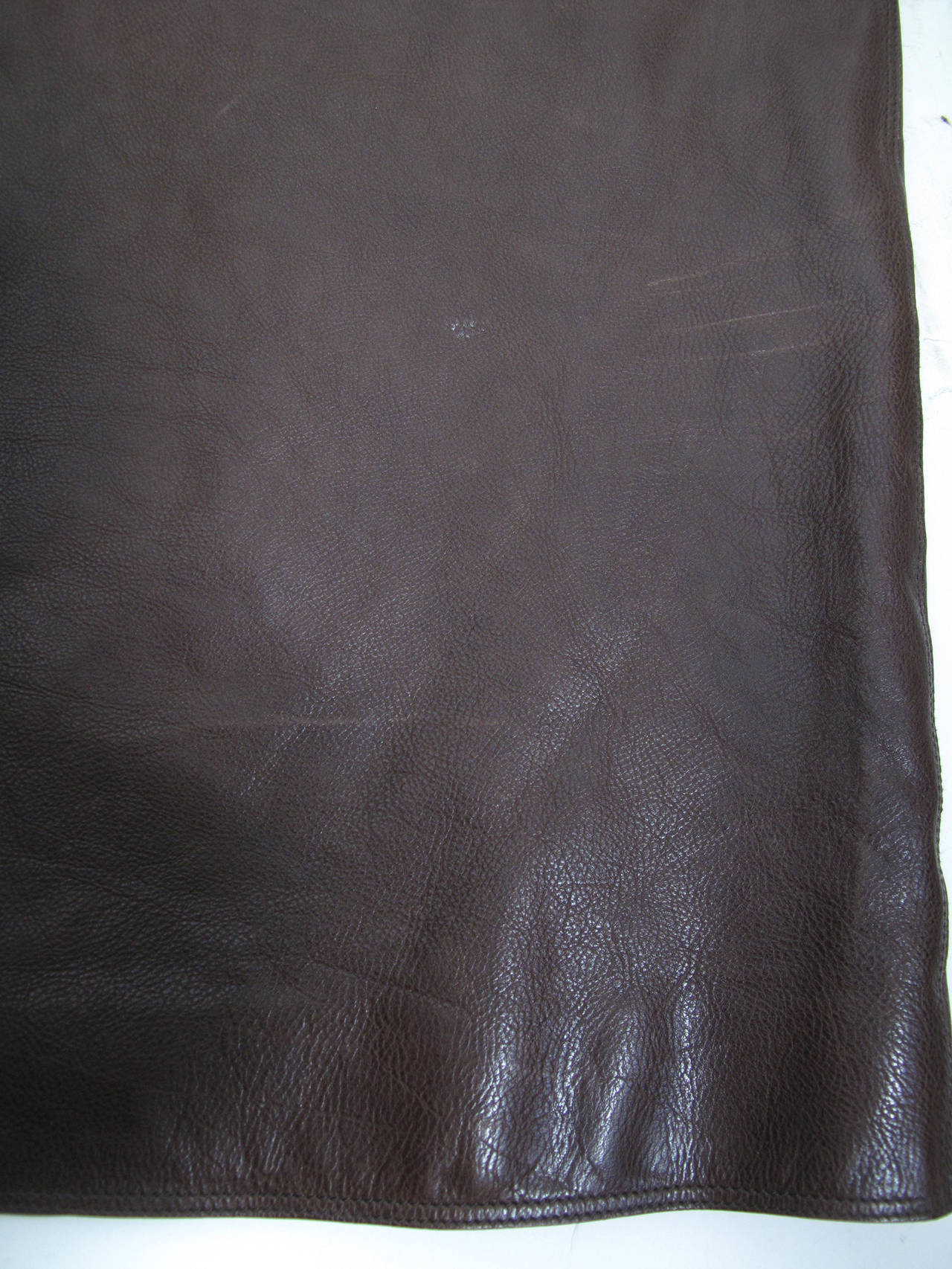 Hermes Rich Dark Brown Leather Wrap Skirt with Buckle 8