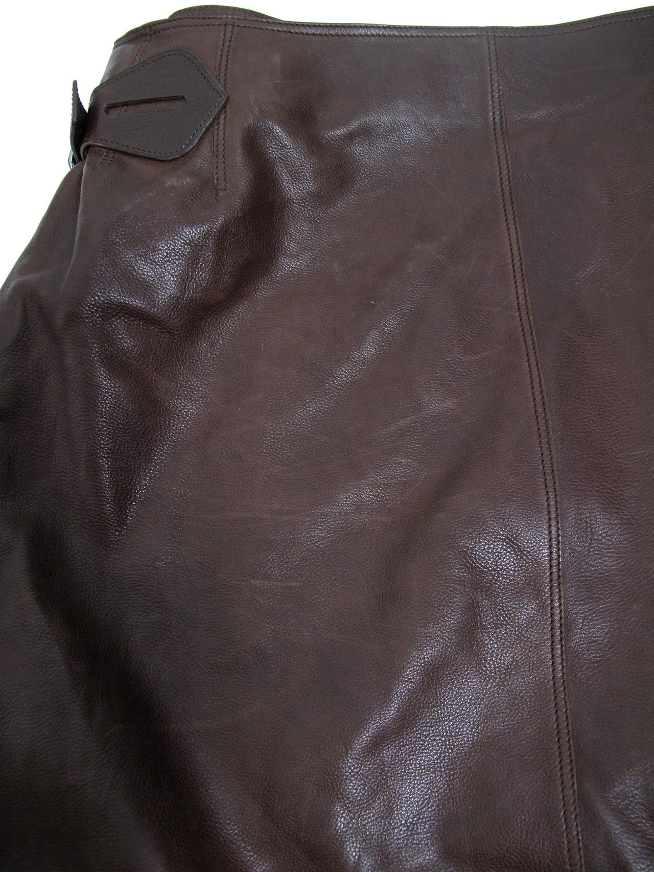 Hermes Rich Dark Brown Leather Wrap Skirt with Buckle 6