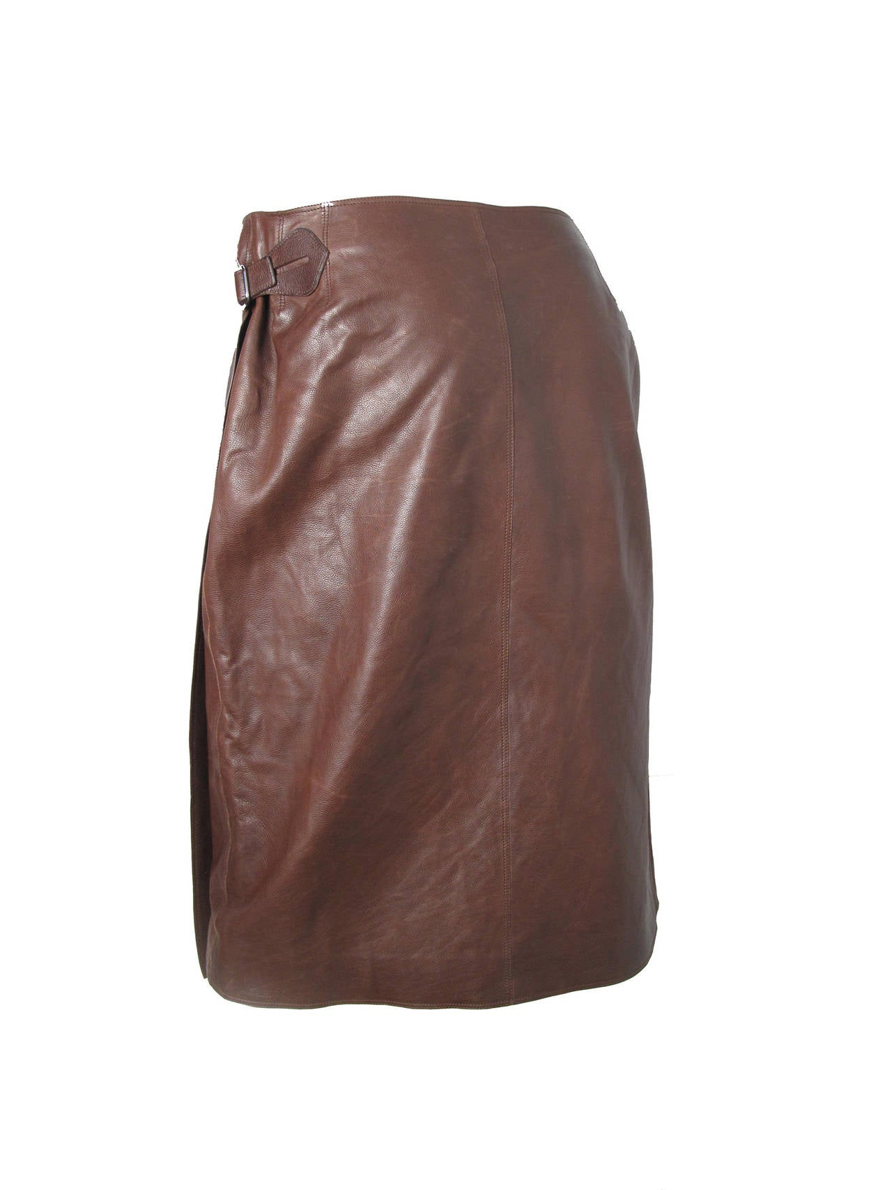 Hermes Rich Dark Brown Leather Wrap Skirt with Buckle 5