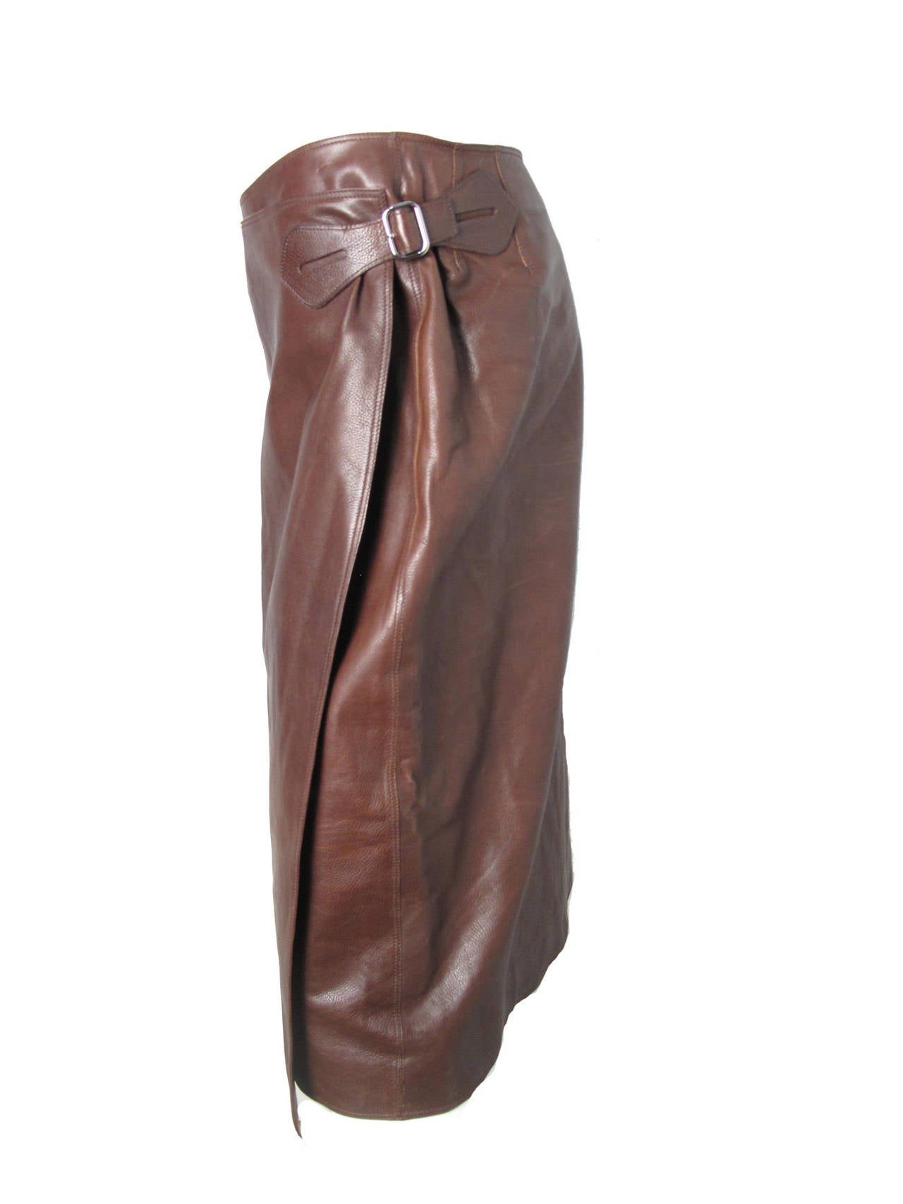 Hermes Rich Dark Brown Leather Wrap Skirt with Buckle 3