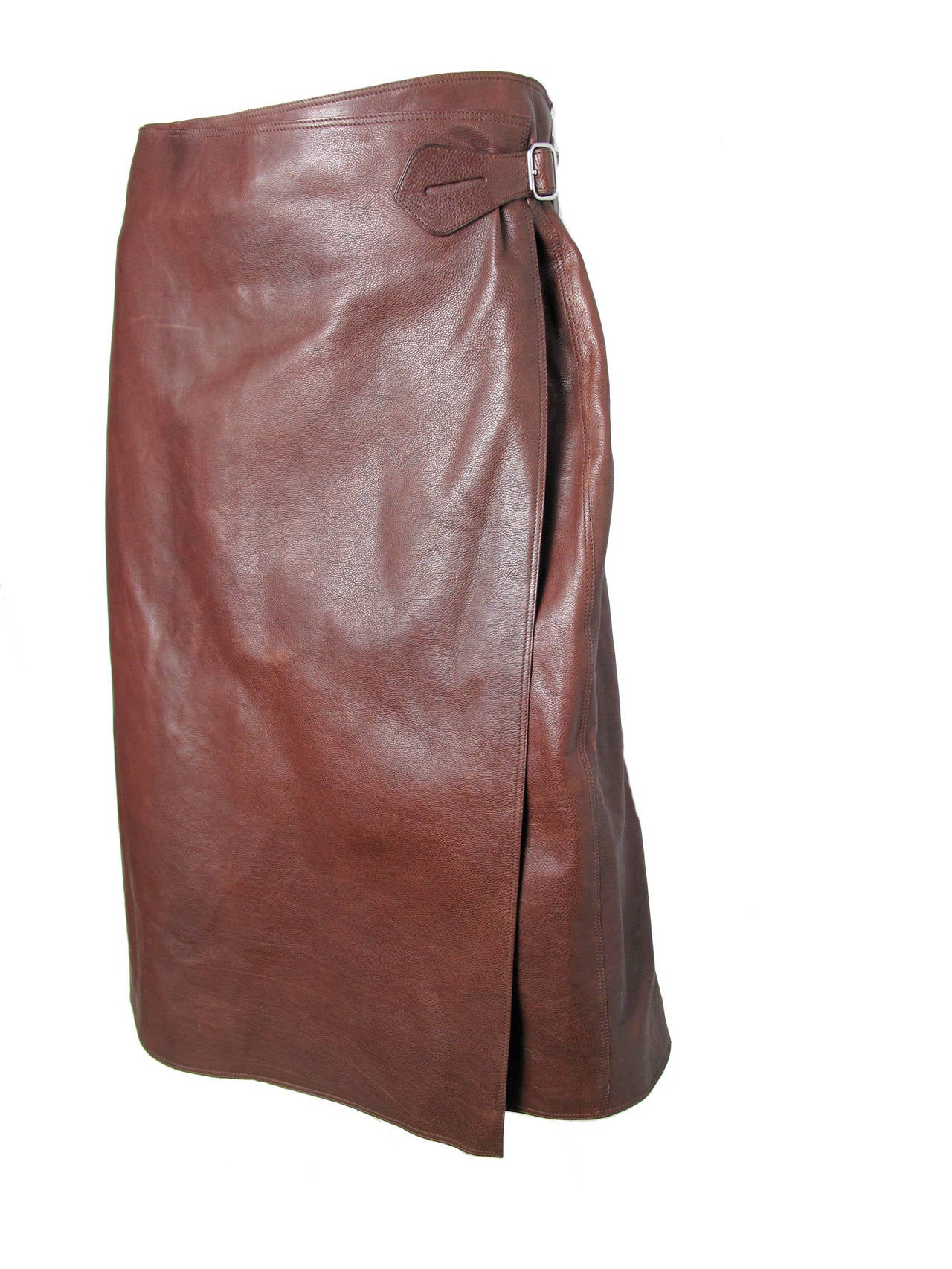 Hermes Rich Dark Brown Leather Wrap Skirt with Buckle 2