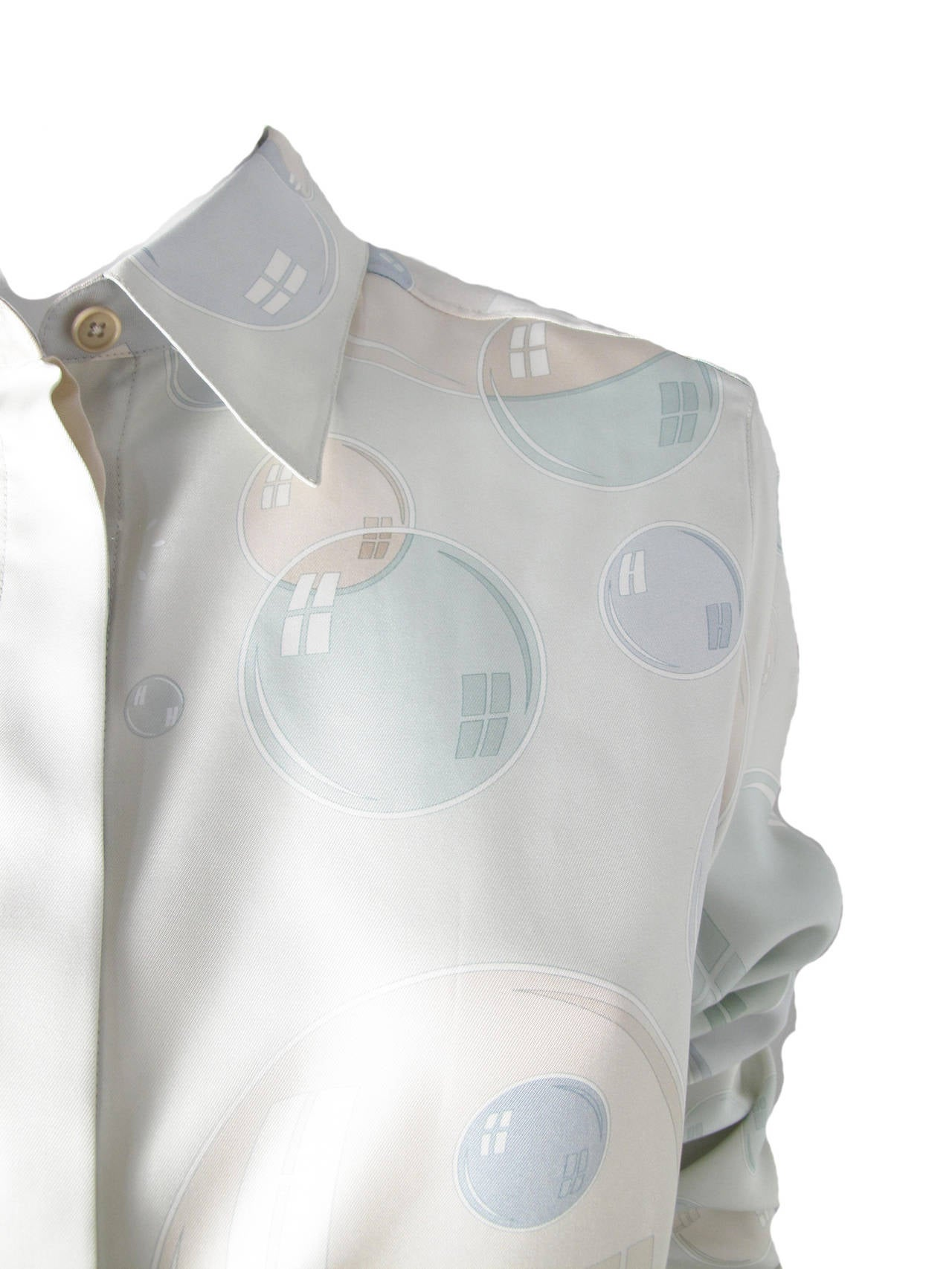 "Gray Hermes Bal de Bulles ""bubble"" Silk Blouse For Sale"