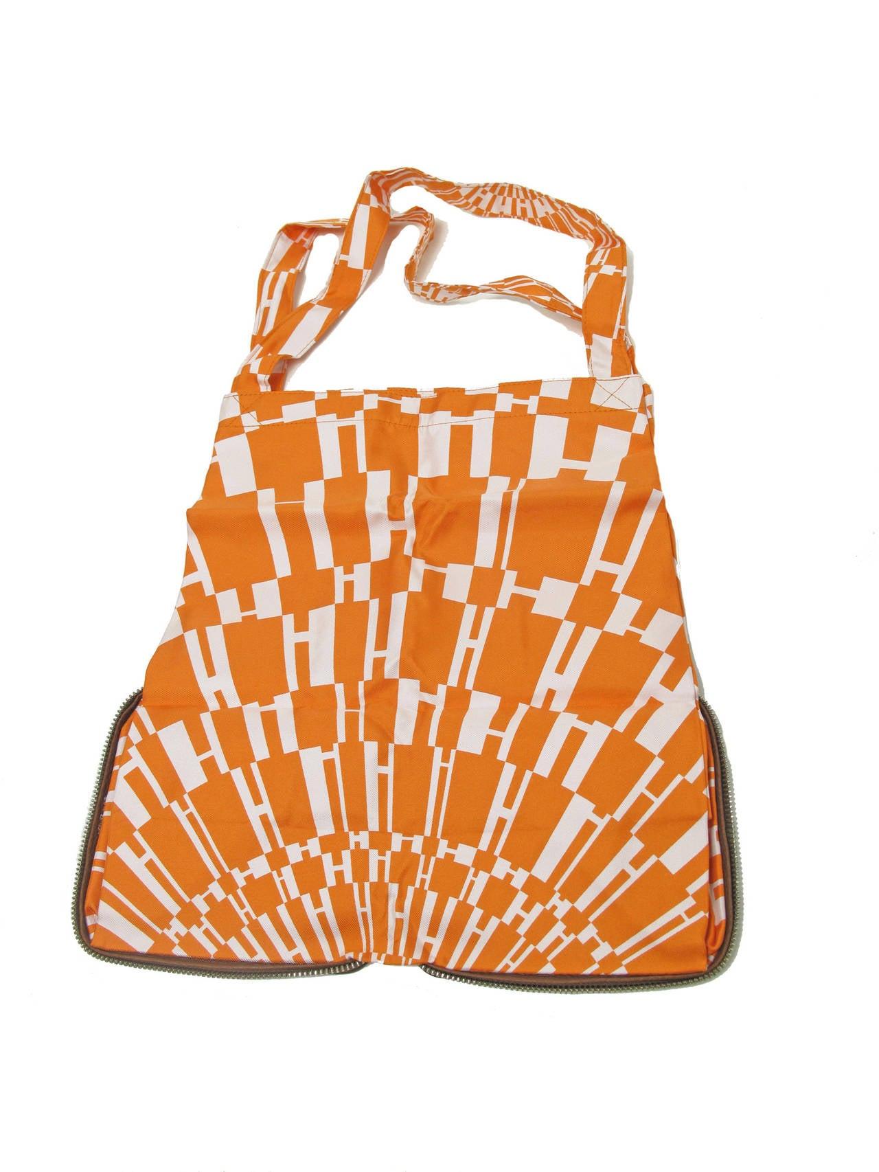 Rare Hermes Orange H Shopper Tote Collapsible Zip Handbag - sale 4