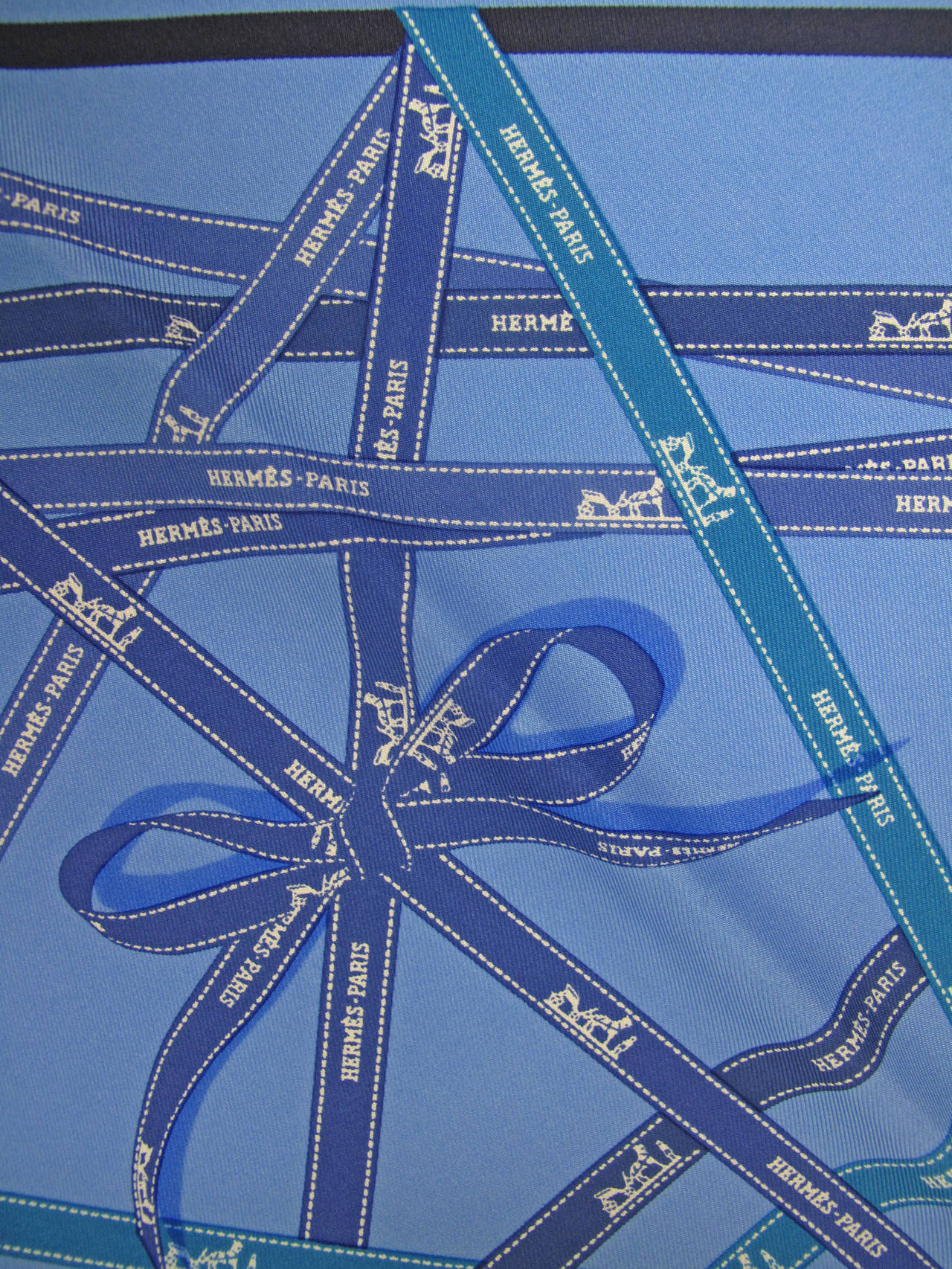 Hermes Bolduc Print Blue Silk Scarf with Box 3
