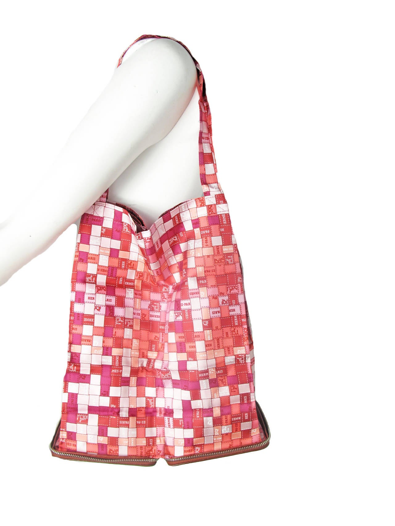 Rare Hermes Bolduc Print Shopper Tote Collapsible Leather Zippered Bag - sale 3