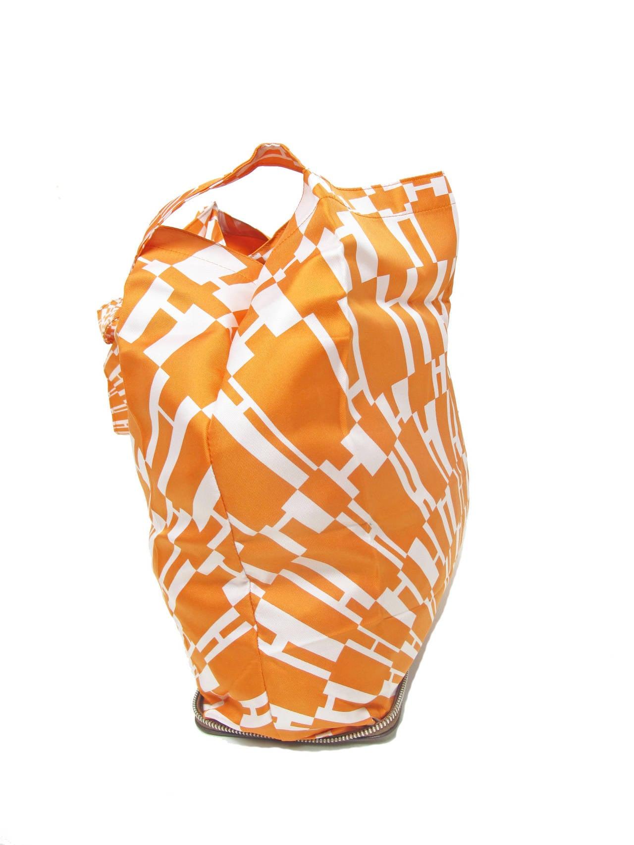 Rare Hermes Orange H Shopper Tote Collapsible Zip Handbag - sale 5