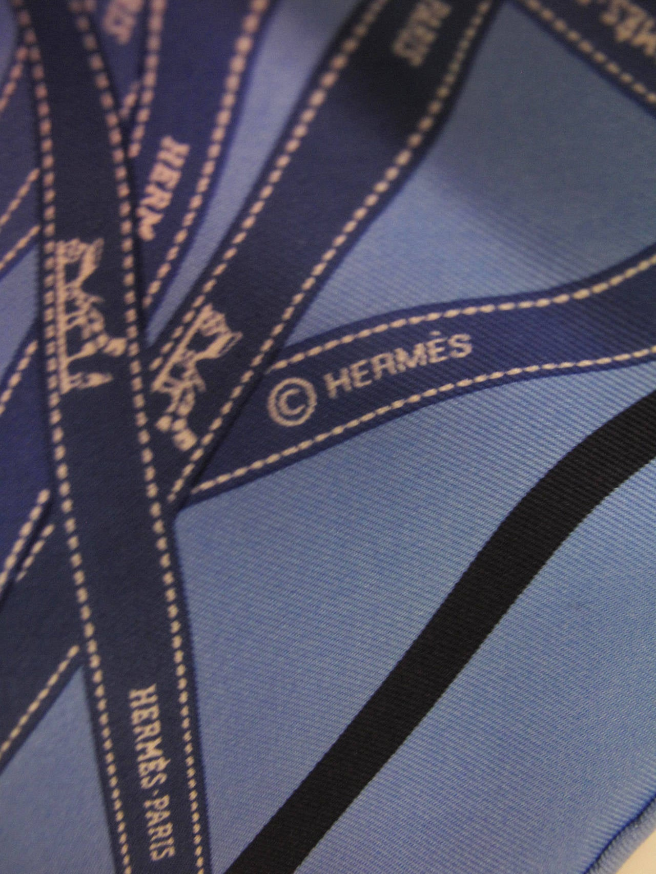 Hermes Bolduc Print Blue Silk Scarf with Box 4