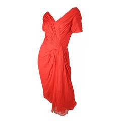 Ceil Chapman Iconic Red Silk Chiffon Cocktail Dress, 1950s