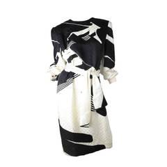 Pauline Trigere Printed Silk Dress