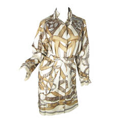 Rare Hermes Printed Silk Trench Coat Runway by Gaultier 2008