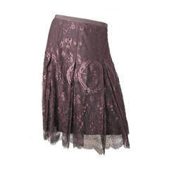 Hermes Lace Skirt with Hermes Logo by Gaultier - Runway