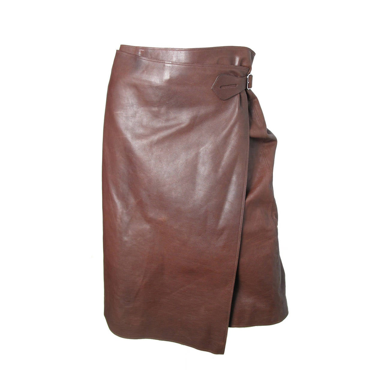 Hermes Rich Dark Brown Leather Wrap Skirt with Buckle 1
