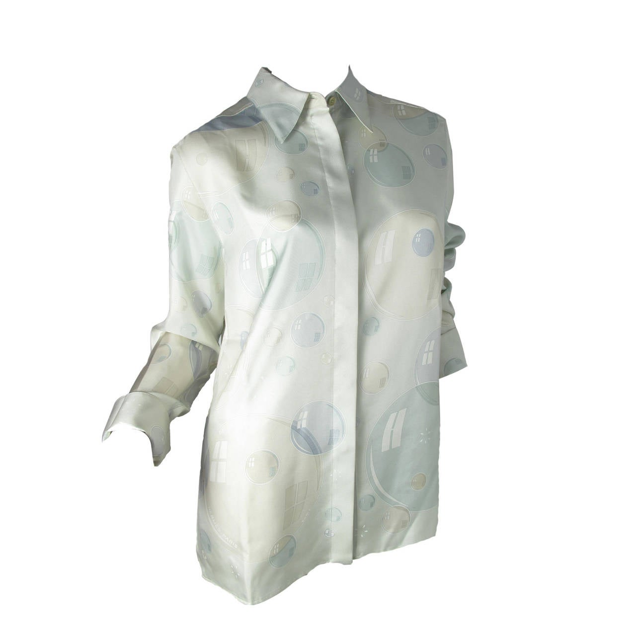 "Hermes Bal de Bulles ""bubble"" Silk Blouse For Sale"