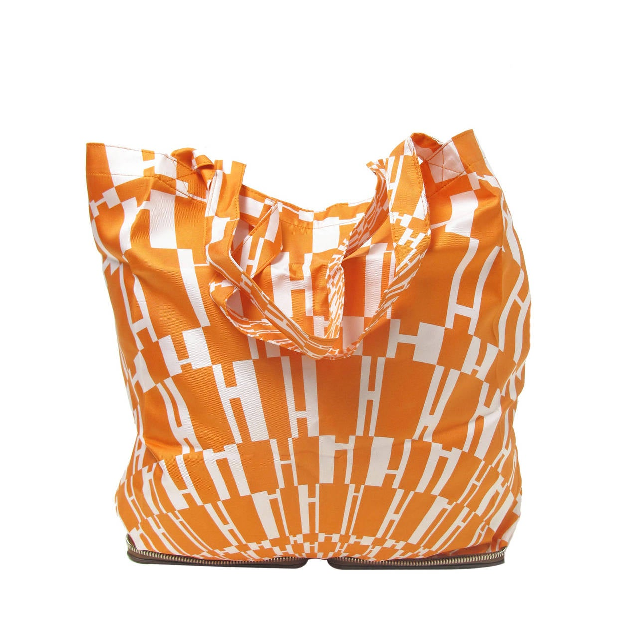 Rare Hermes Orange H Shopper Tote Collapsible Zip Handbag - sale 1