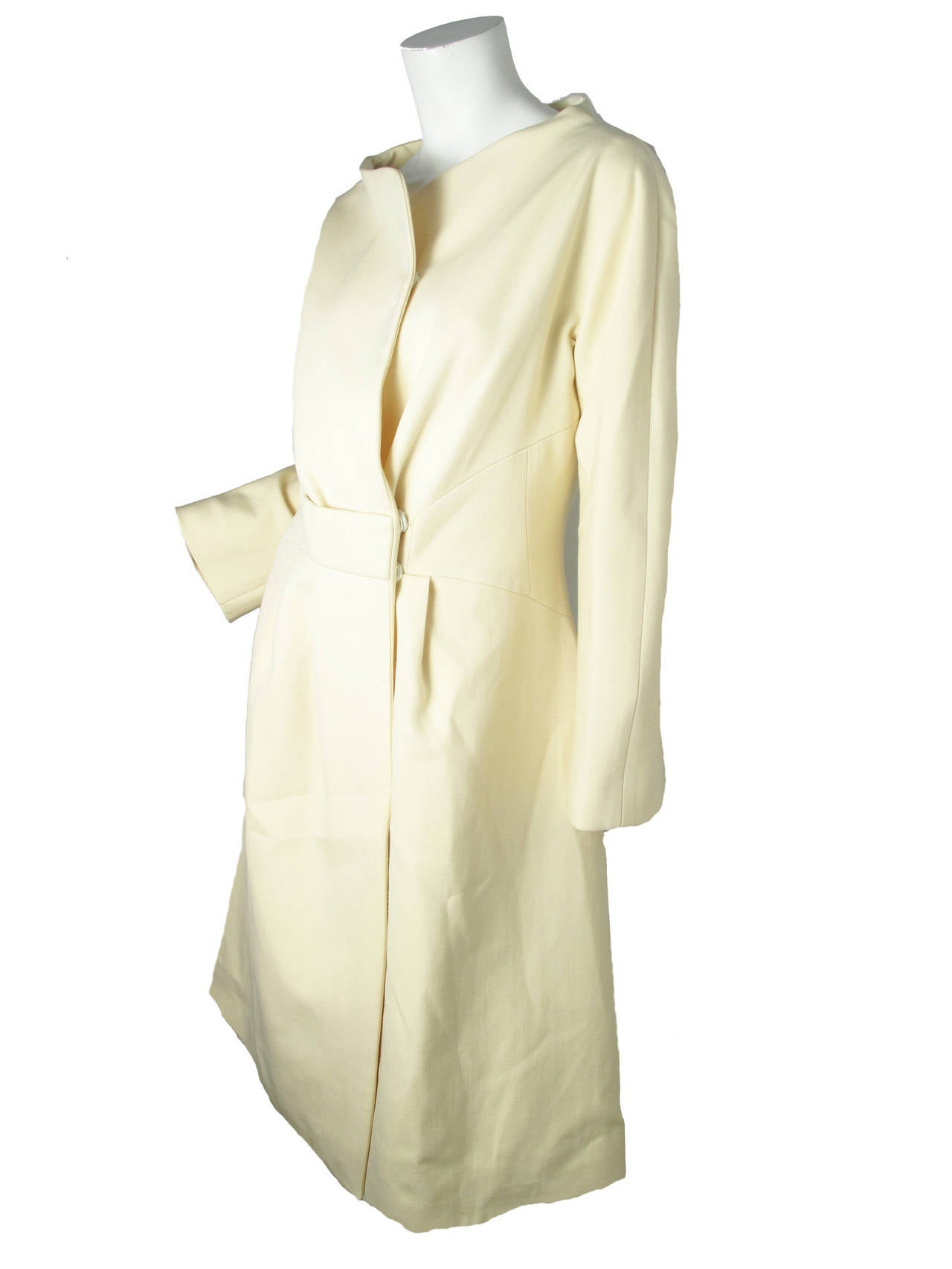 White Ungaro Wool Coat Bright Yellow Silk Lining For Sale