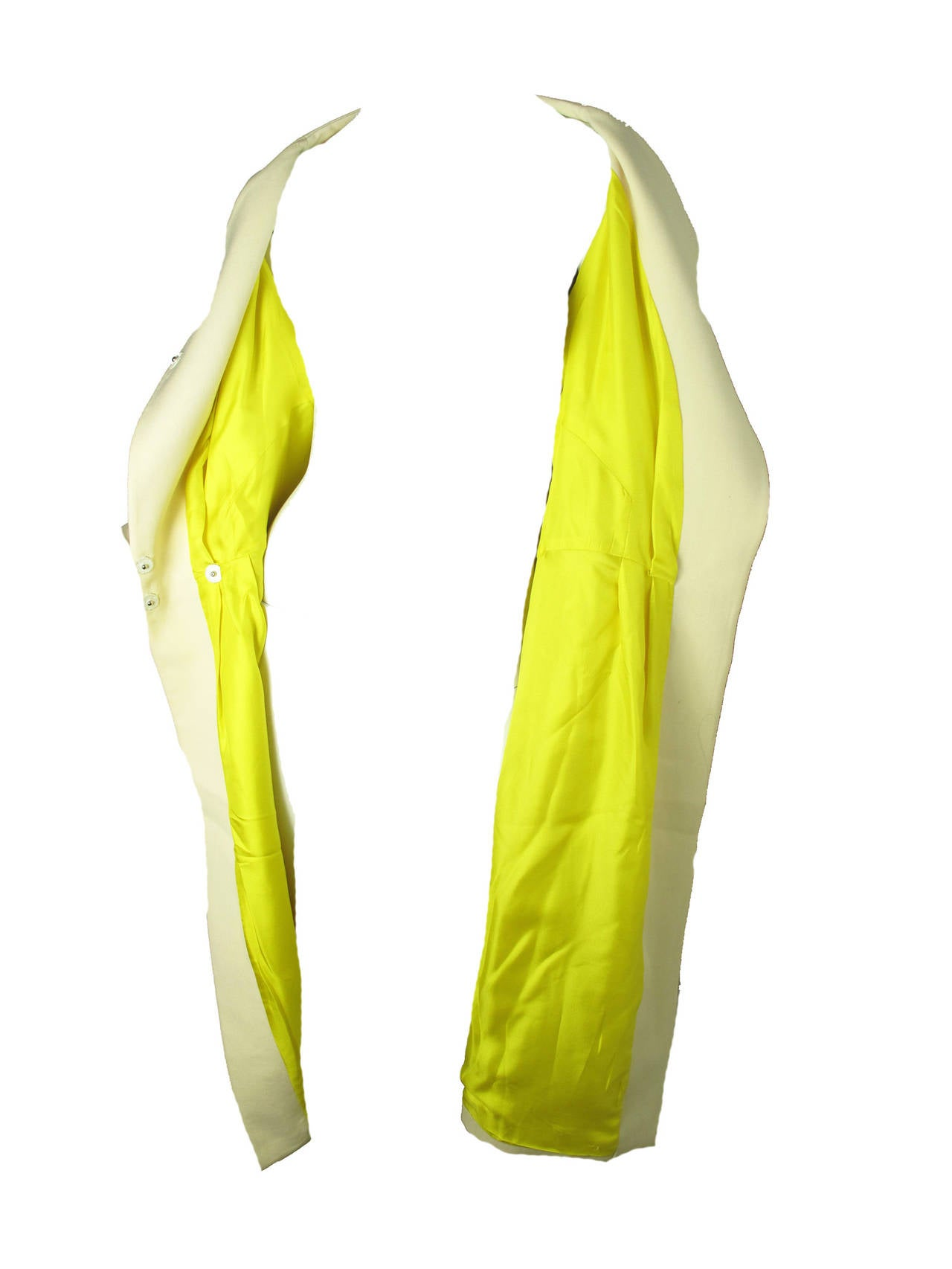 Ungaro Wool Coat Bright Yellow Silk Lining In Good Condition For Sale In Austin, TX