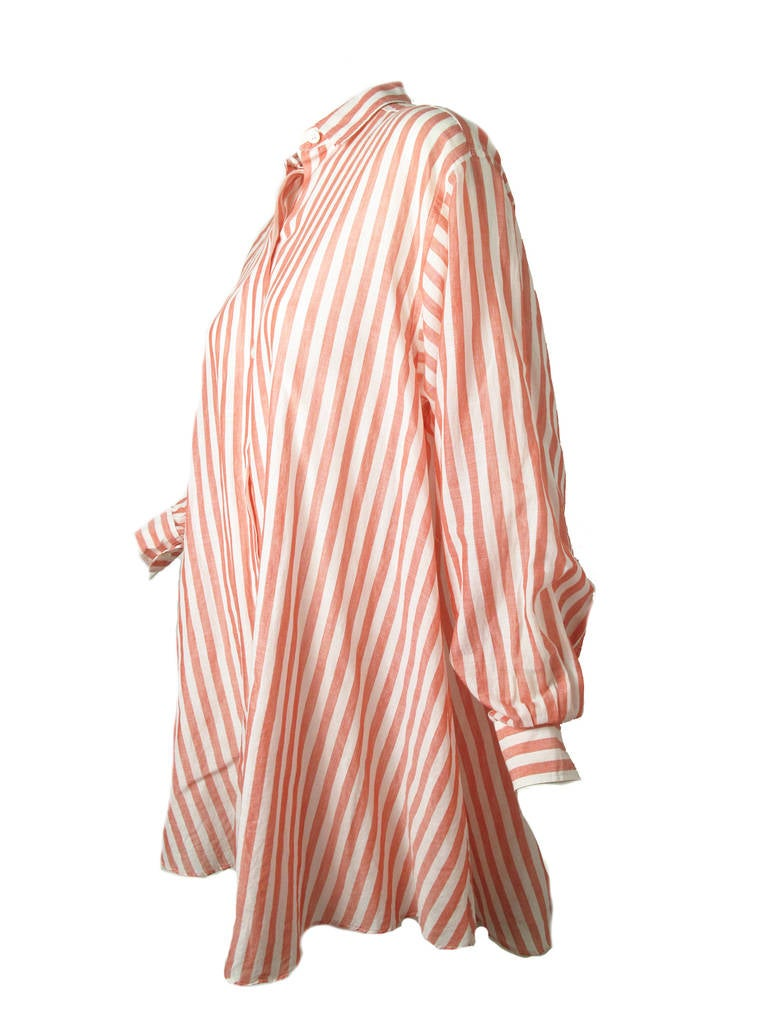 1980s Kenzo red and white striped oversized cotton shirt 3