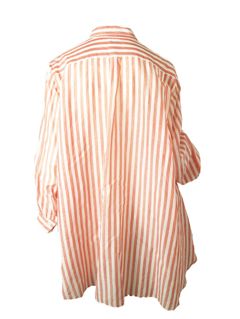 1980s Kenzo red and white striped oversized cotton shirt 5
