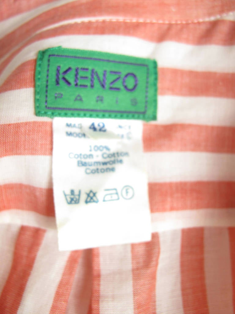 1980s Kenzo red and white striped oversized cotton shirt 4