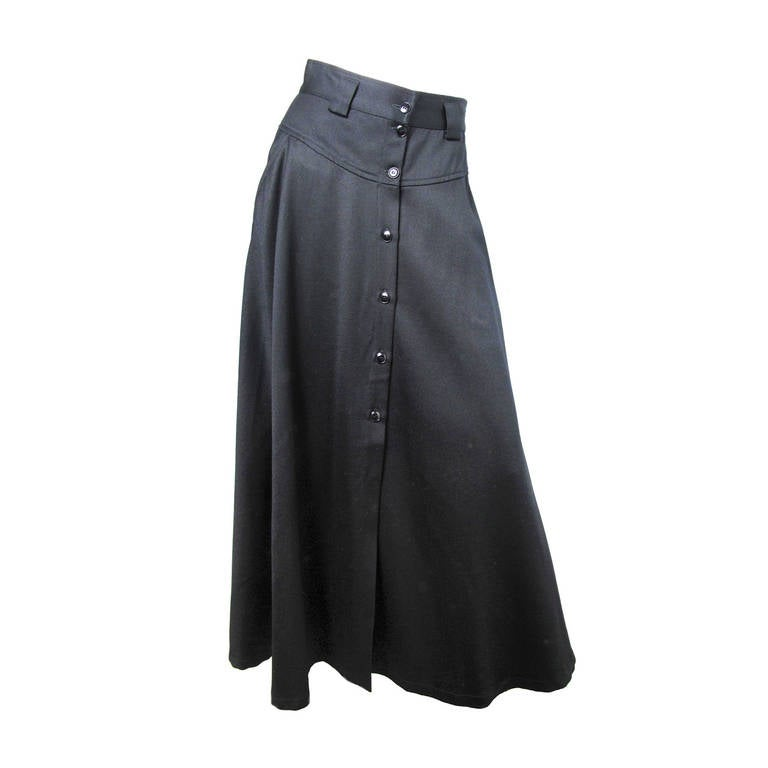 1980s Kenzo long black skirt 1