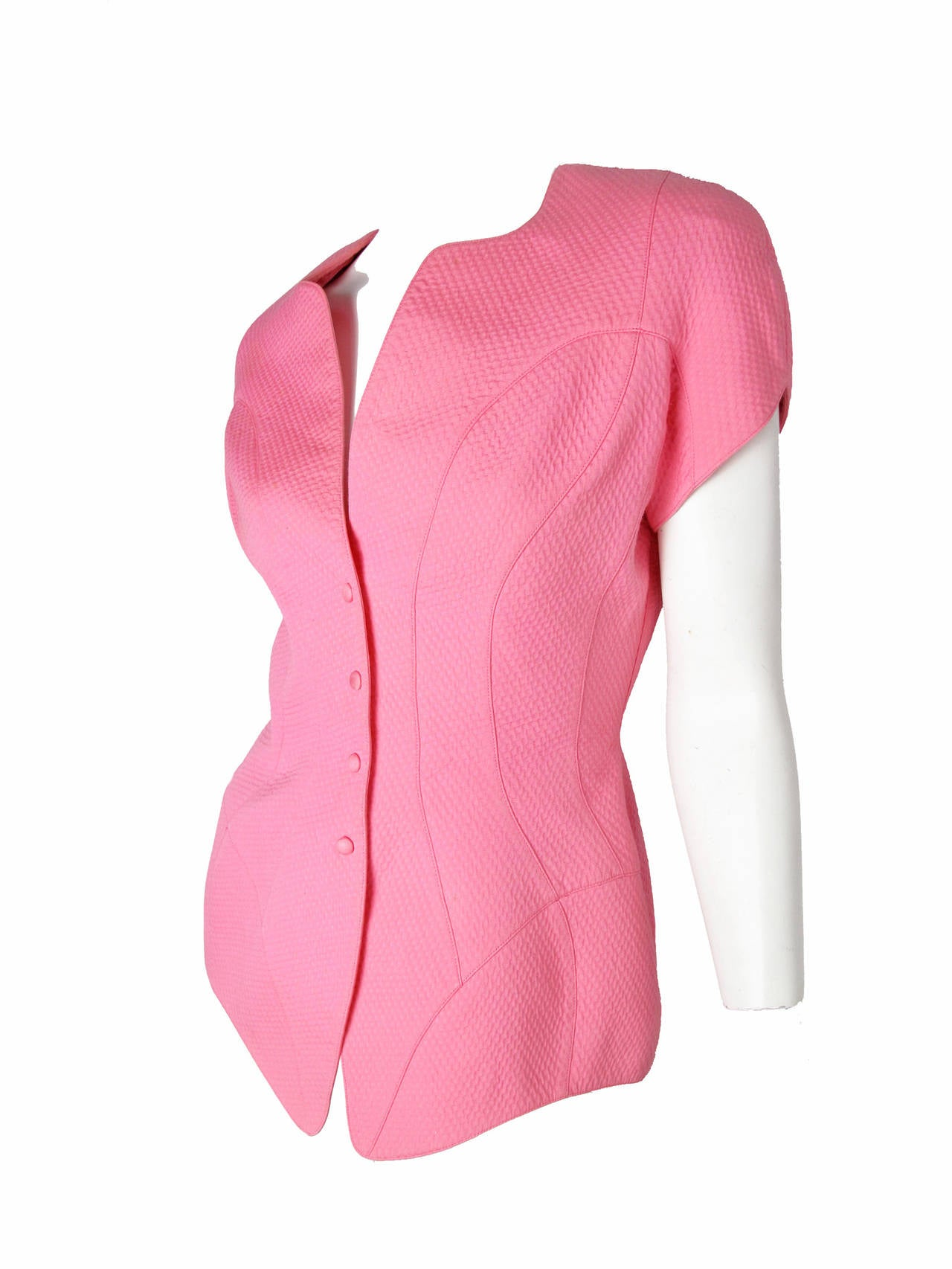 Thierry Mugler Pink and Black Suit, 1980s    In Good Condition For Sale In Austin, TX