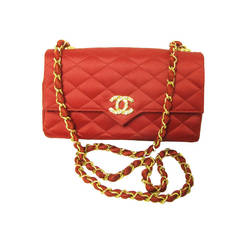 "1980s Chanel red satin evening bag with rhinestone ""CC"""
