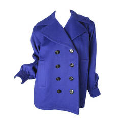Yves Saint Laurent Rive Gauche purple wool coat