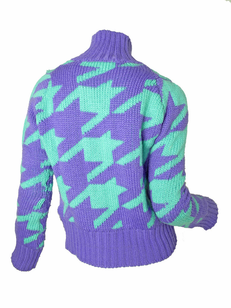 Comme de Garcons Junya Watanabe aqua and purple wool sweater.  36