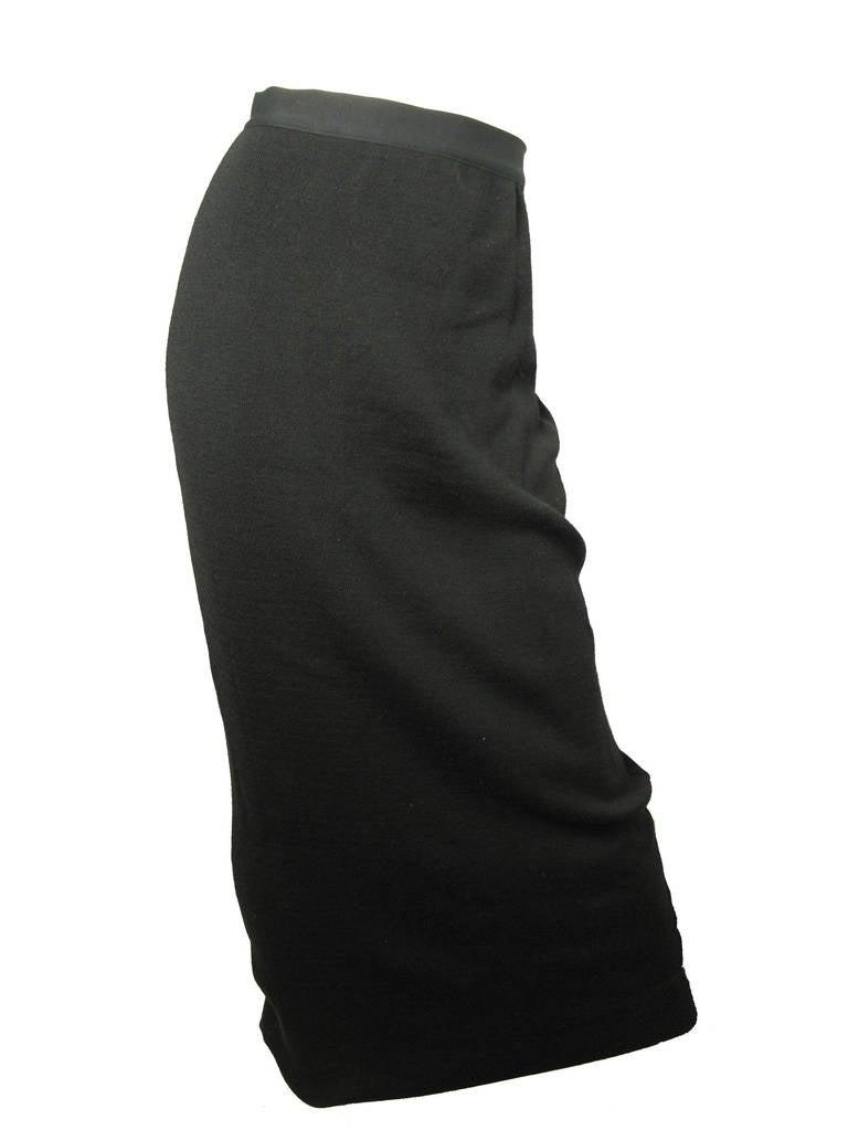 Yohji Yamamoto black wool long skirt with cotton pockets on back.   25
