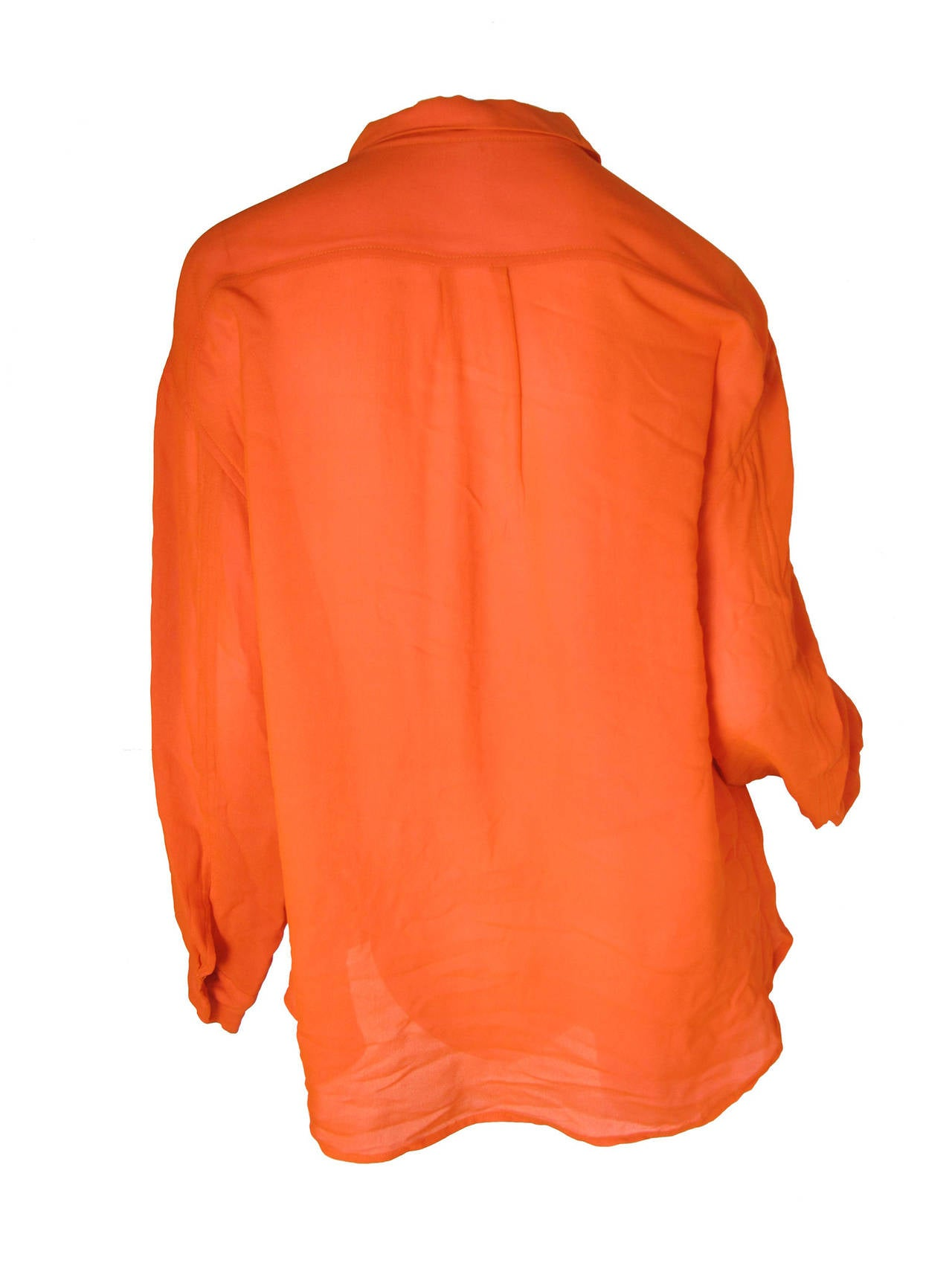 Todd Oldham Orange Silk Blouse with Pink Lining 2