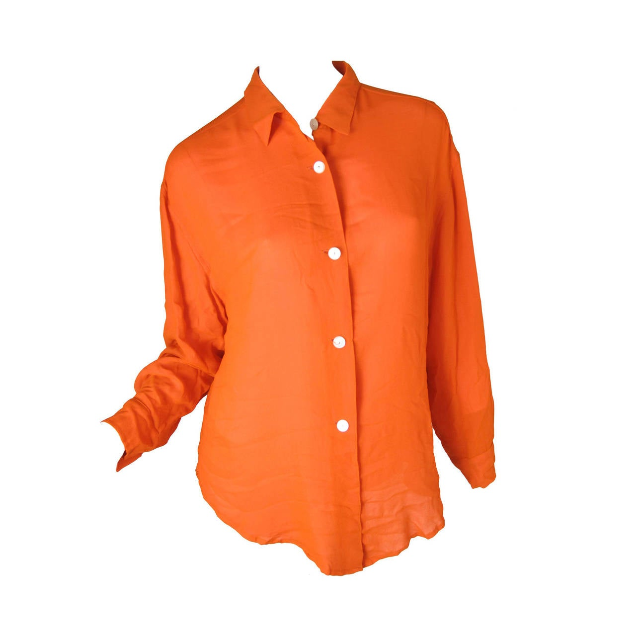 Todd Oldham Orange Silk Blouse with Pink Lining 1