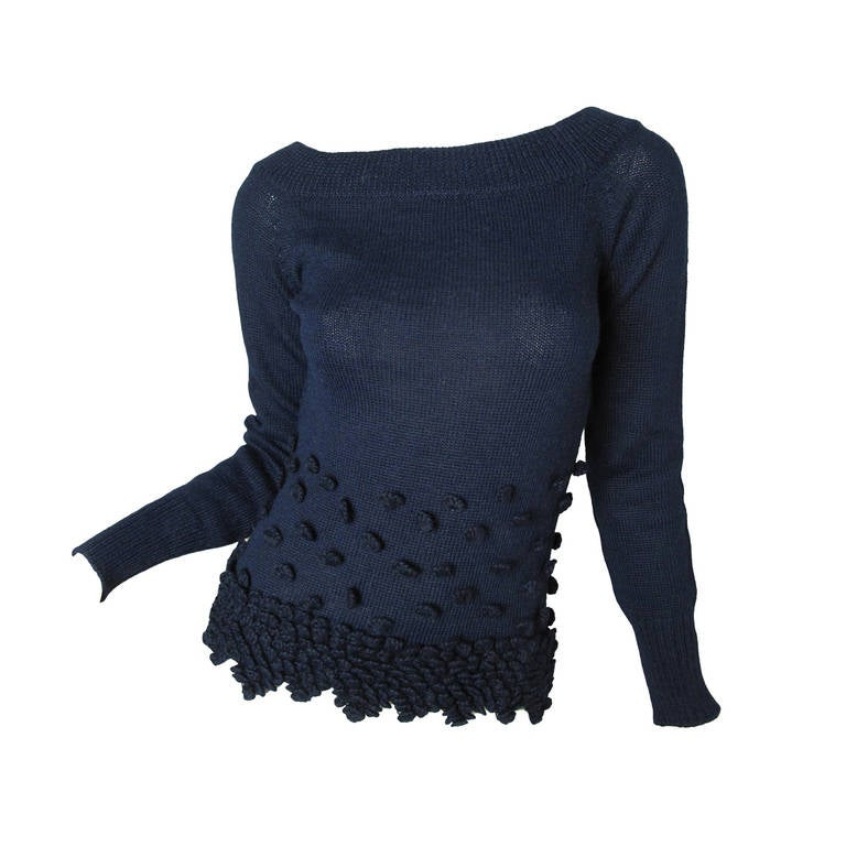 Romeo Gigli Navy Alpaca Sweater 1
