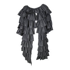 Victor Costa Black Ruffle Coat