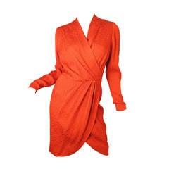 Yves Saint Laurent Rive Gauche red wrap dress